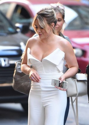 Hilary Duff exits NBC Rockefeller Studios in New York