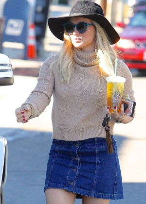 Hilary Duffin Short Jeans Skirt out in Los Angeles