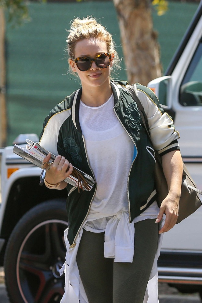 Hilary Duff in Tights Heading to a friend's house in LA