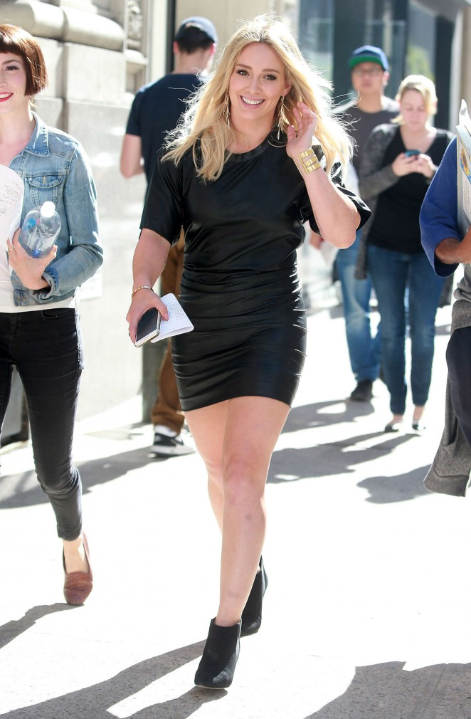 Hilary Duff in Short Mini Dress on 'Younger' set in NYC