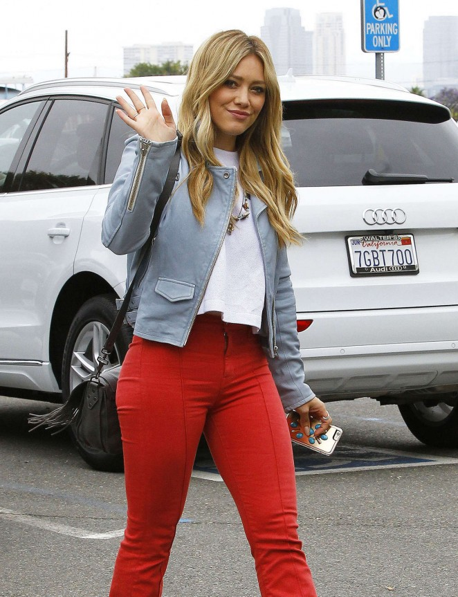 Hilary Duff in Red Pants out in LA