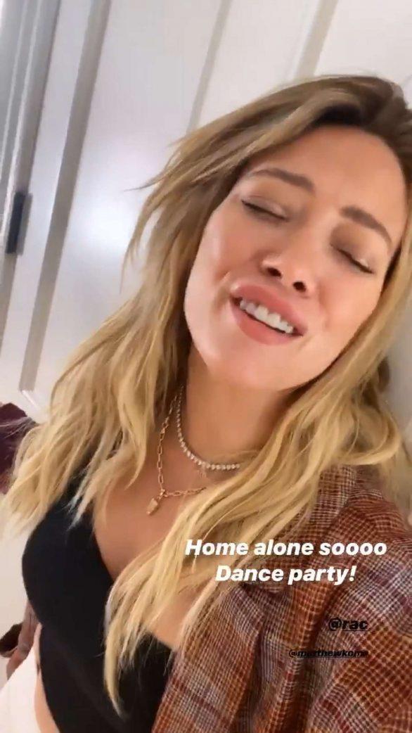 Hilary Duff - Home alone social pix