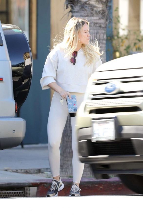 Hilary Duff - In all-white athleisure while out in LA