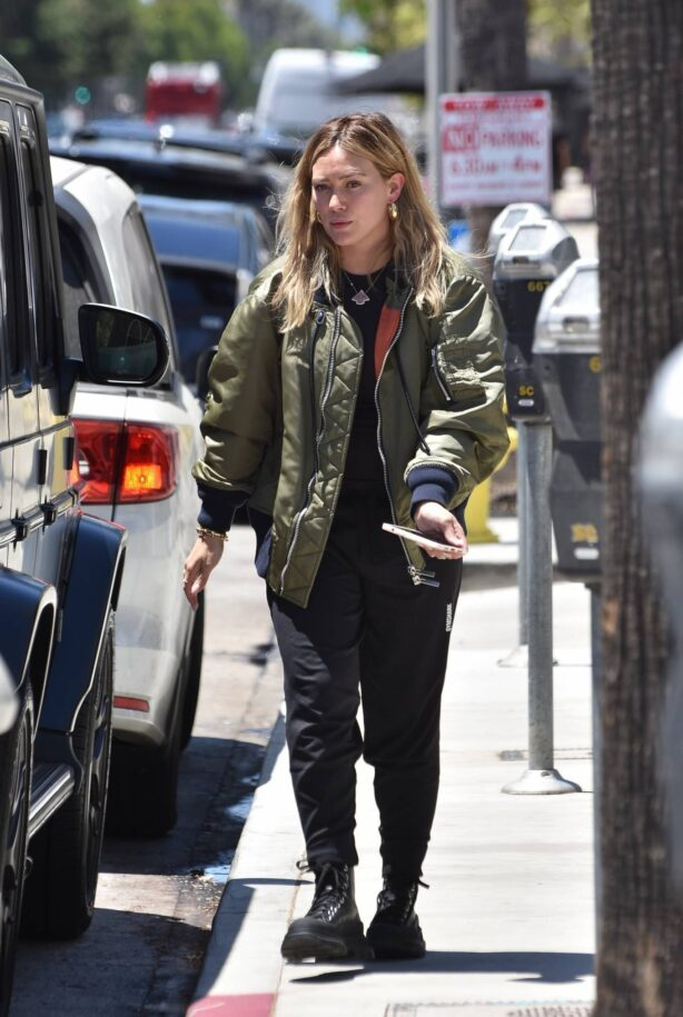 Hilary Duff - In Alpha MA-1 Steps out in Studio City