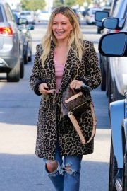 Hilary Duff in Animal Print Coat - Out for lunch in Sherman Oaks