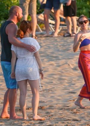 Hilary Duff in Blue Bikini Top -01