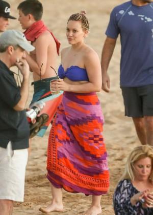 Hilary Duff in Blue Bikini Top -08