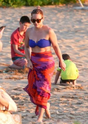 Hilary Duff in Blue Bikini Top -10