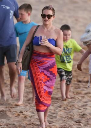 Hilary Duff in Blue Bikini Top -17