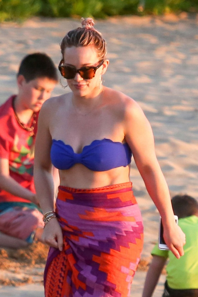 Hilary Duff in Blue Bikini Top in Maui adds
