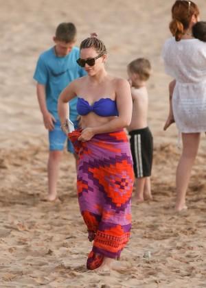 Hilary Duff in Blue Bikini Top -20