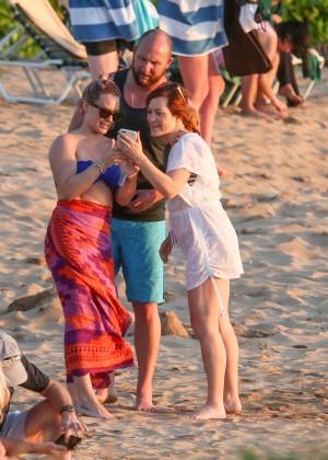 Hilary Duff in Blue Bikini Top -24