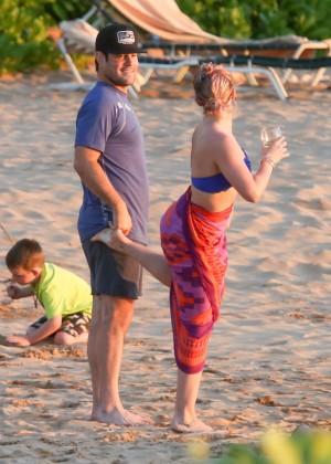 Hilary Duff in Blue Bikini Top -27