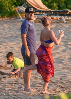 Hilary Duff in Blue Bikini Top -28