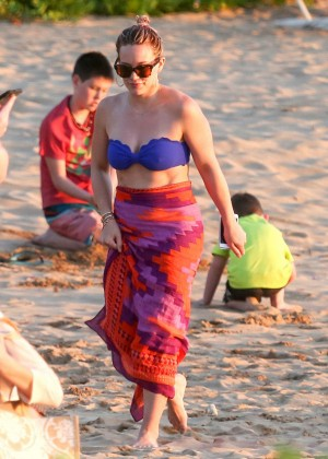Hilary Duff in Bikini Top in Maui