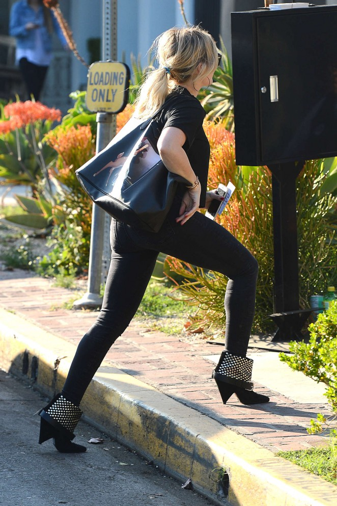 Hilary Duff in Black Jeans Out in West Hollywood