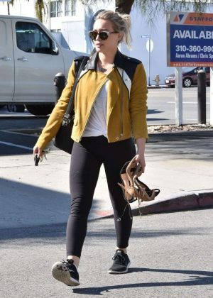 Hilary Duff in Black Leggings Out in West Hollywood