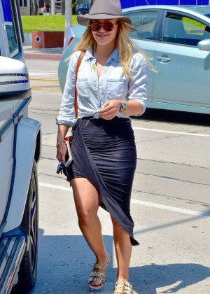 Hilary Duff in Black Skirt out in West Hollywood