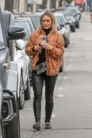 Hilary Duff in Black Tight Pants - Out in Studio City