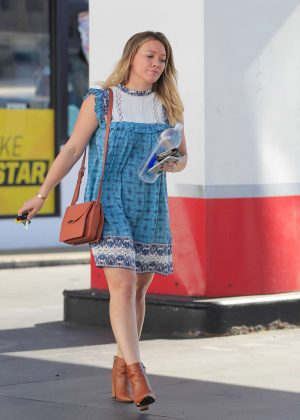 Hilary Duff in Blue Mini Dress out in Beverly Hills