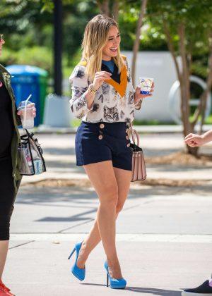 Hilary Duff in Blue Shorts in Corona Park New York