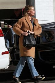 Hilary Duff in Brown Coat - Out in Los Angeles