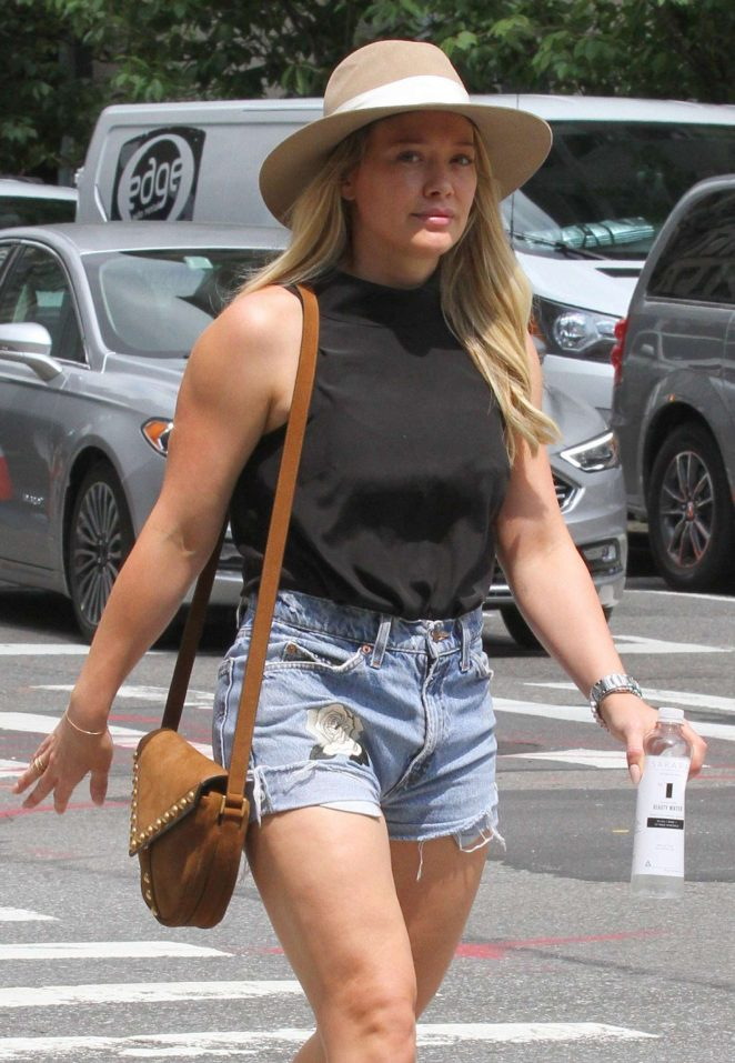 Hilary Duff in Cut-offs out in New York