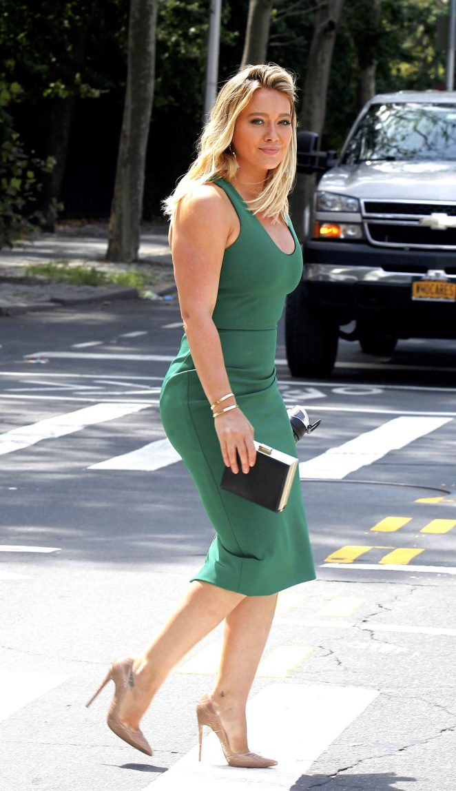 Hilary Duff in Green Dress On 'Younger' set in Manhattan