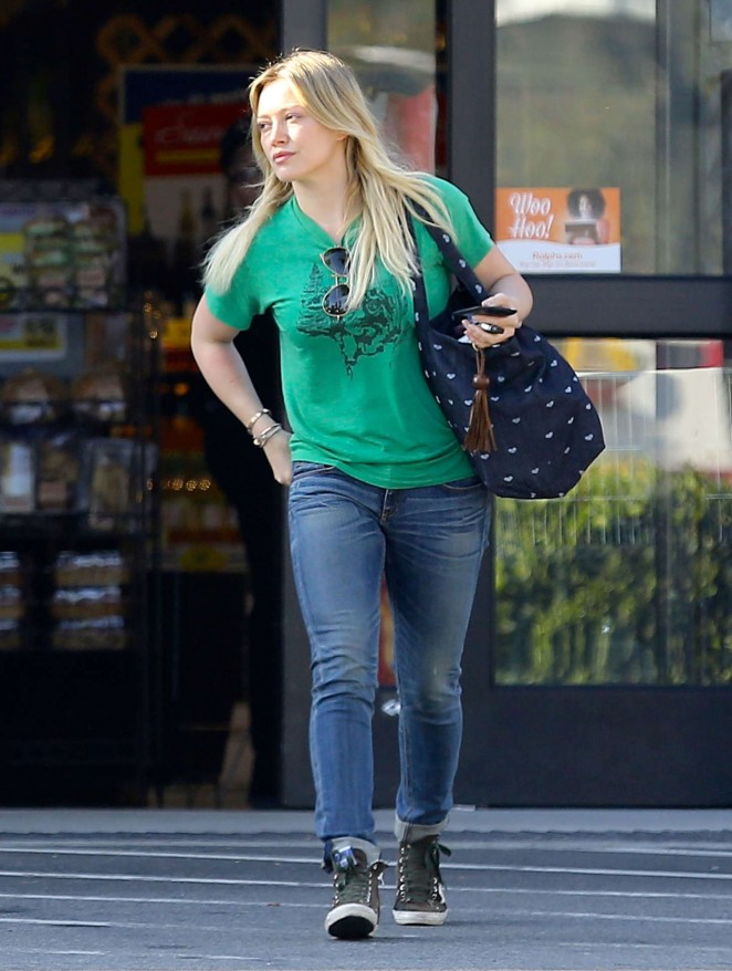 Hilary Duff in Green Shirt Out in LA