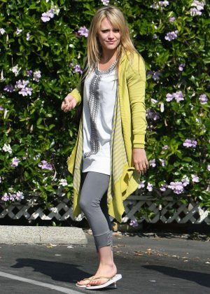 Hilary Duff in Grey Tights out in Los Angeles