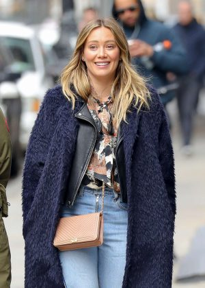 Hilary Duff in Jeans and Coat out in New York City