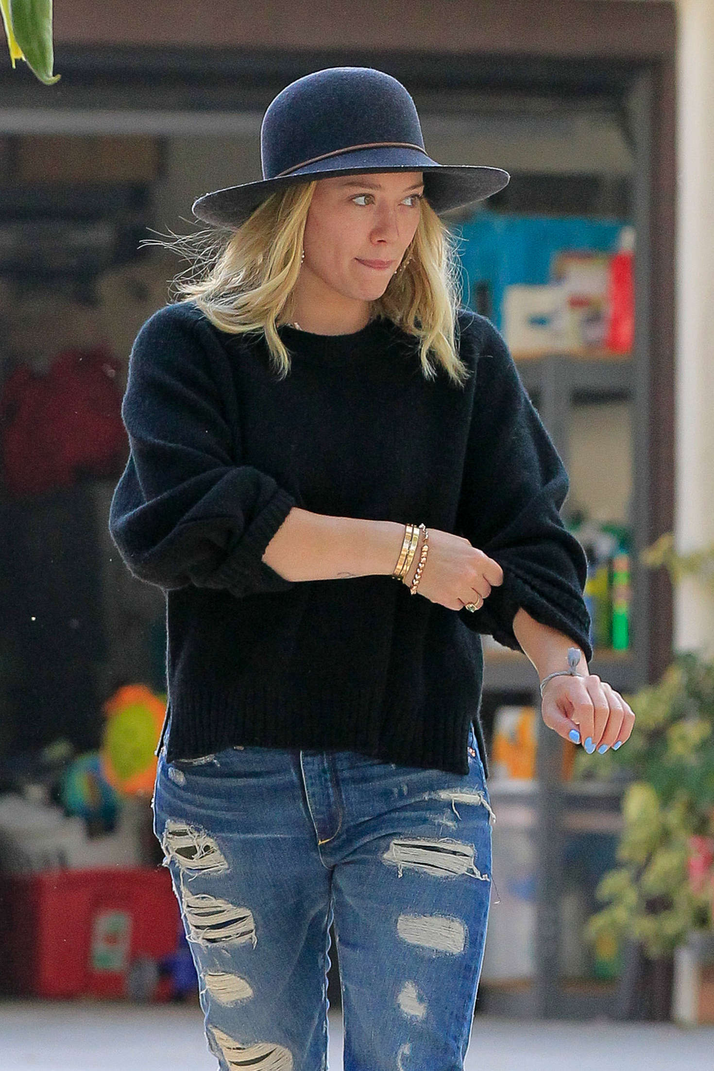 Hilary Duff in Jeans and Hat Out in Toluca Lake