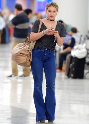 Hilary Duff in Jeans at JFK Airport in NYC