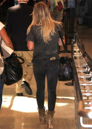 Hilary Duff in Jeans at LAX Airport in LA