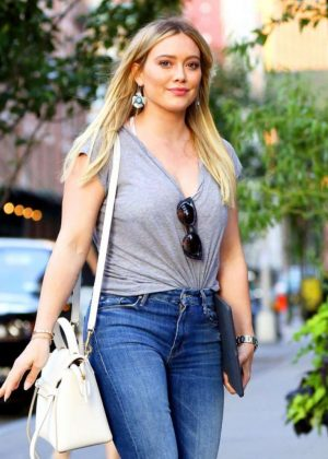 Hilary Duff in Jeans Out in New York