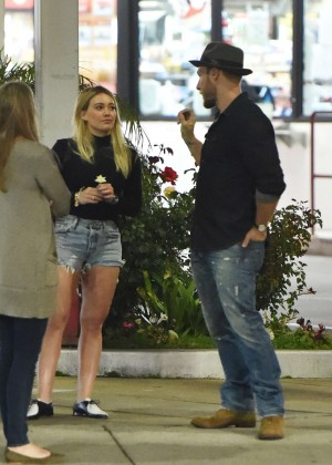 Hilary Duff in Jeans Shorts Out in Los Angeles