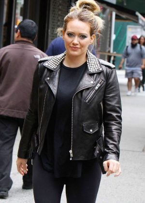 Hilary Duff in Leather Jacket at 'Younger' set in New York
