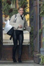 Hilary Duff in Leather Pants - Out for lunch in Beverly Hills