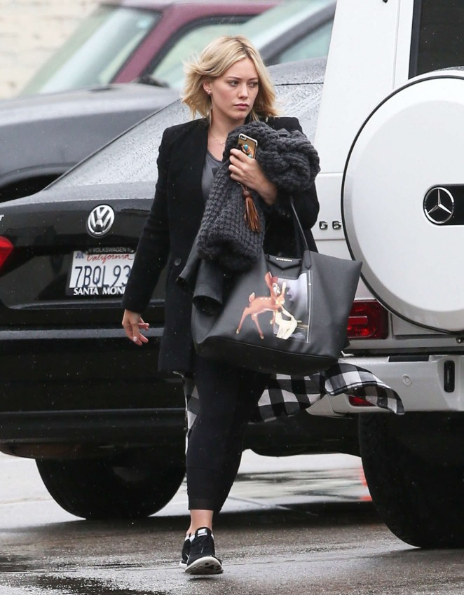 Hilary Duff in Leggings Arriving at a studio in Hollywood
