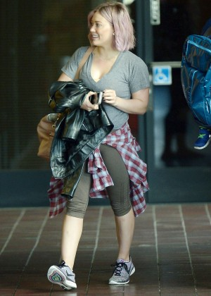 Hilary Duff in Leggings at the Gym in Los Angeles