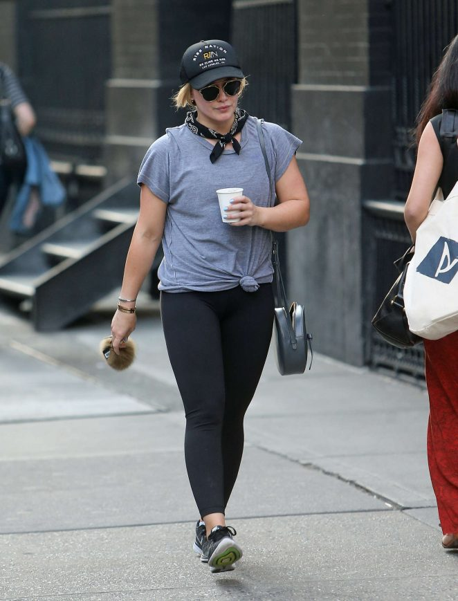 Hilary Duff in Leggings Leaving the gym in NYC