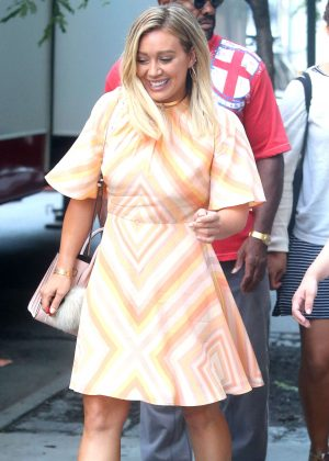 Hilary Duff in Mini Dress on the set of 'Younger' in NYC