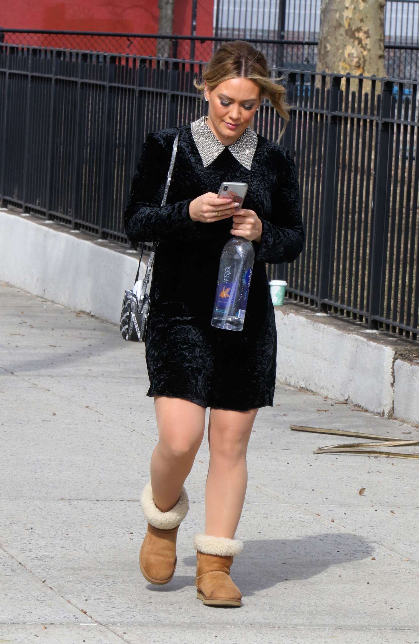 Hilary Duff in Mini Dress - On the set of 'Younger' in NYC