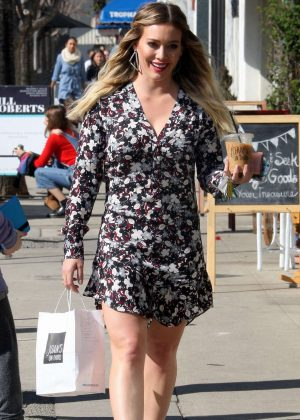 Hilary Duff in mini dress out in Studio City