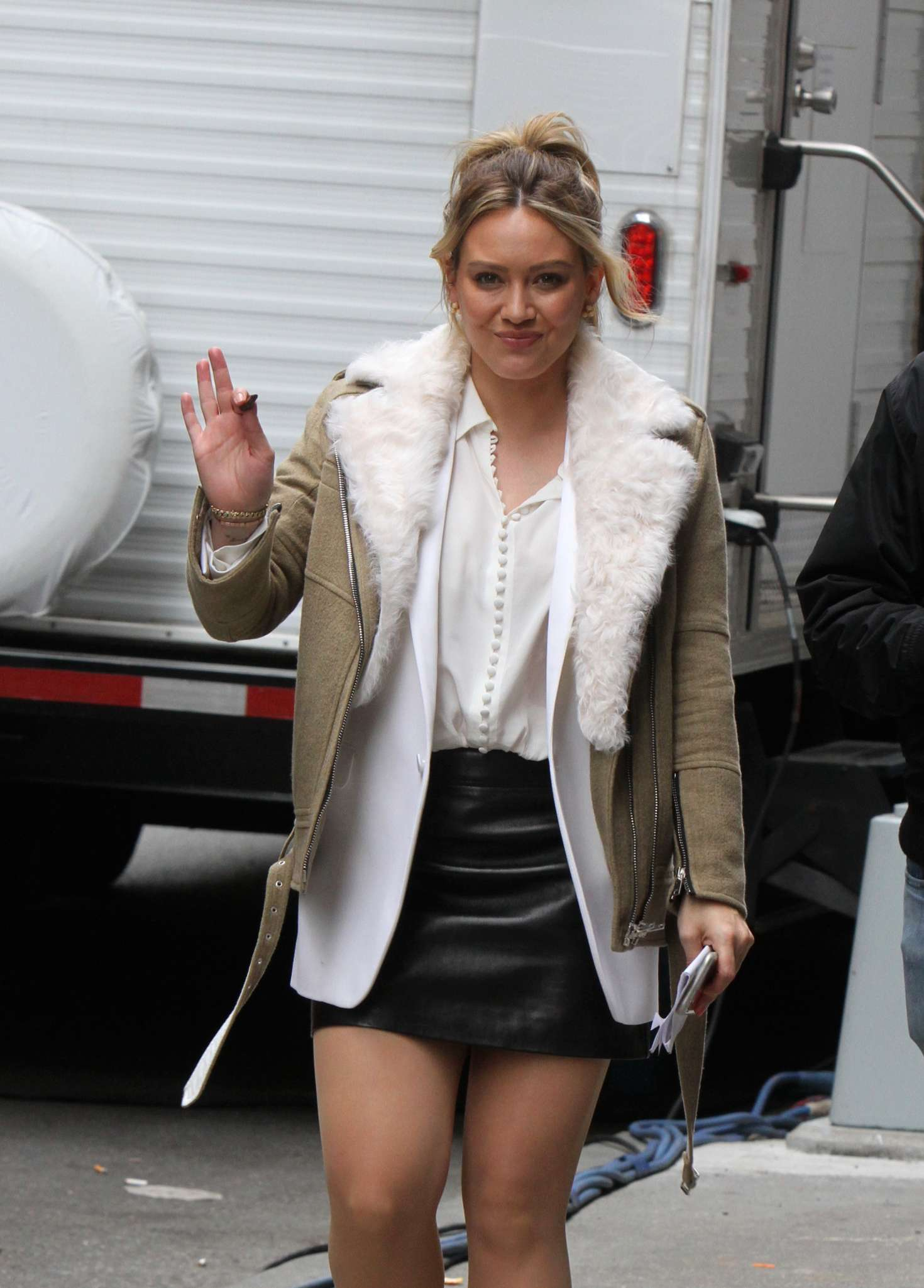 Hilary Duff in Mini Skirt - On the set of 'Younger' in NYC