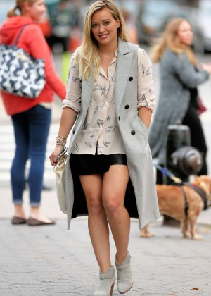 Hilary Duff in Mini Skirt on 'Younger' set in NY