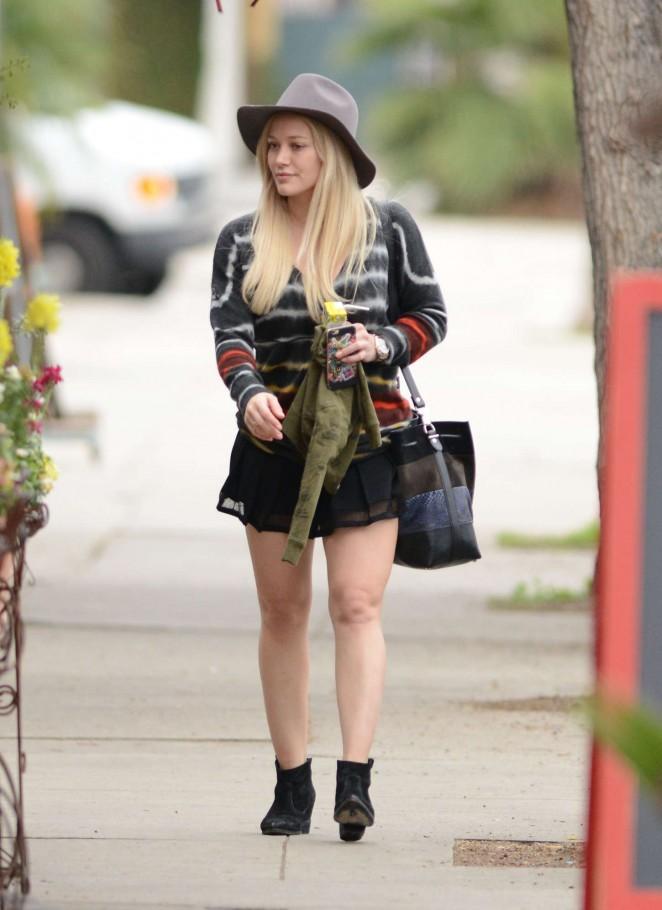 Hilary Duff in Mini Skirt Out in LA
