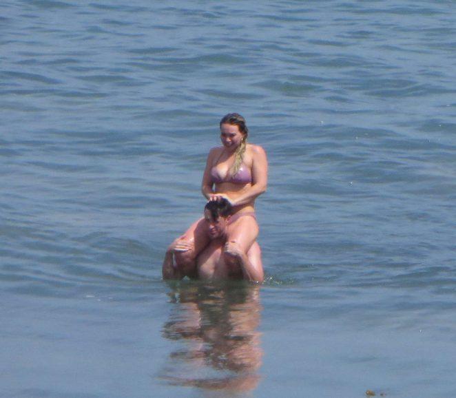 Hilary Duff in Pink Bikini on the Beach in Malibu