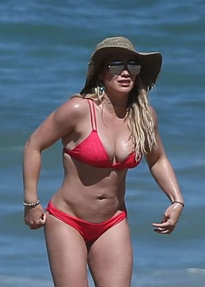 Hilary Duff in Red Bikini on the beach in Mexico
