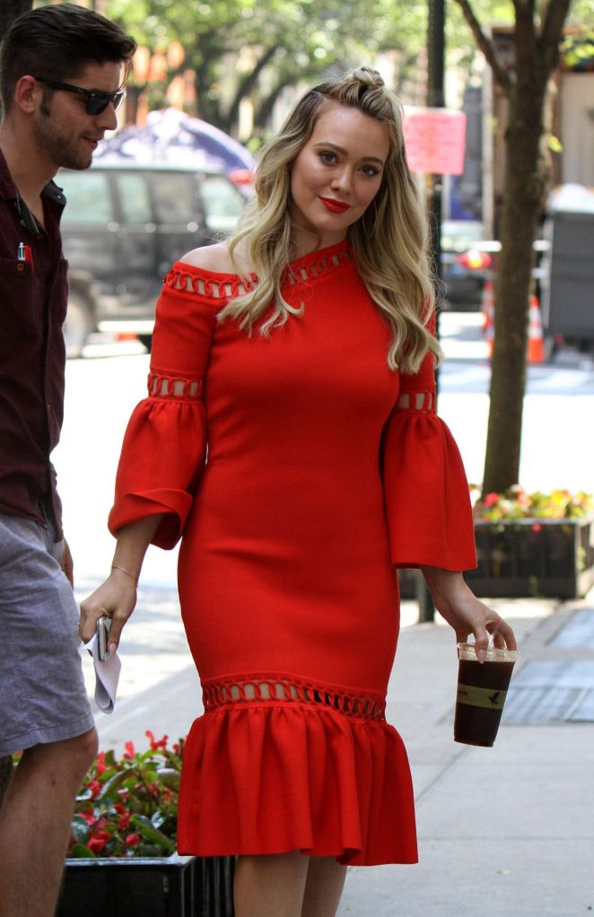 Hilary Duff in Red Dress on the set of 'Younger' in New York